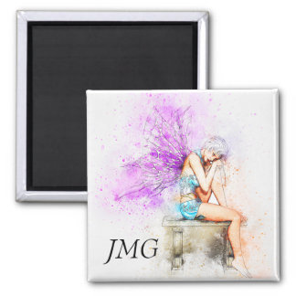 Watercolor Fairy in Blue with Monogram Magnet