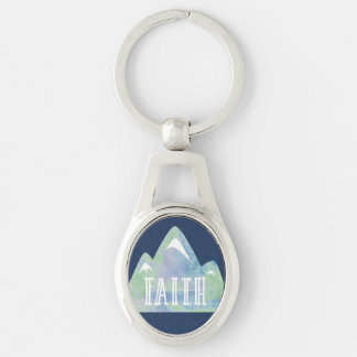 Watercolor Faith Mountain on Navy Background Key Ring