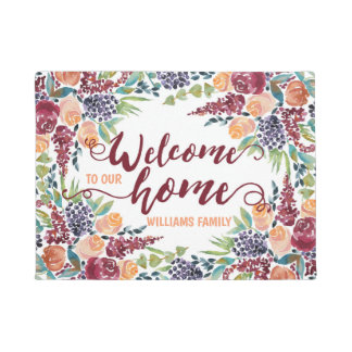 Watercolor Fall Bouquet Roses Welcome to Our Home Doormat