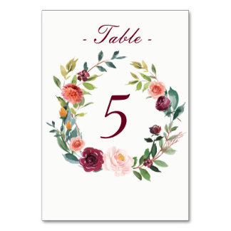 Watercolor Fall Floral Table Number Card