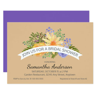 Watercolor Fall Flowers Stylish Bridal Shower Card