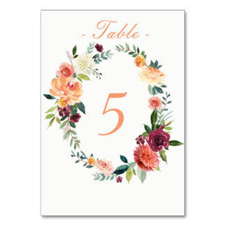 Watercolor Fall Garden Table Number Card