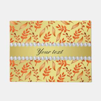 Watercolor Fall Leaves Faux Gold Foil Diamonds Doormat