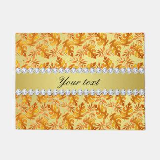 Watercolor Fall Oak Leaves Faux Gold Diamonds Doormat