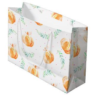 Watercolor Fall Pumpkins & Laurels Large Gift Bag