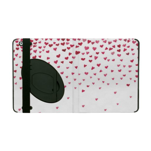 Watercolor Falling Hearts iPad Covers