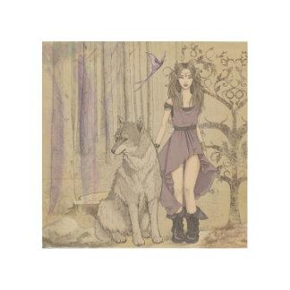 Watercolor Fantansy Faerie Wolf Wood Wall Art