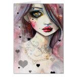 Watercolor Fantasy Art Girl and Hearts Card
