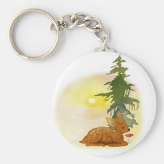 Watercolor Fawn Basic Round Button Key Ring