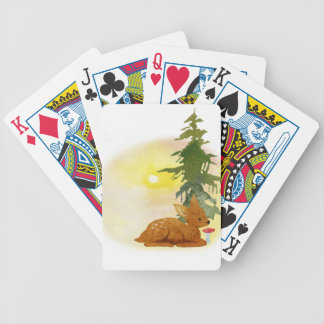 Watercolor Fawn Bicycle Playing Cards