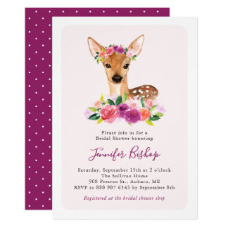 Watercolor Fawn Floral Bridal Shower Invitation II