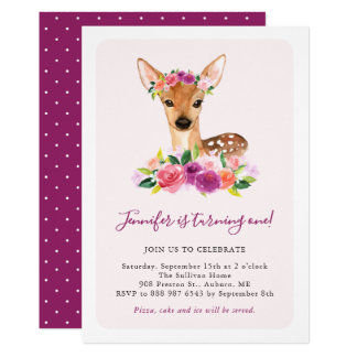 Watercolor Fawn Floral Kids Birthday Invitation