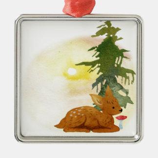 Watercolor Fawn Metal Ornament