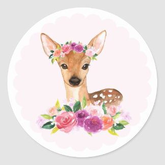 Watercolor Fawn with Floral Crown Sticker