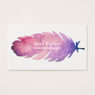 Watercolor feather business card