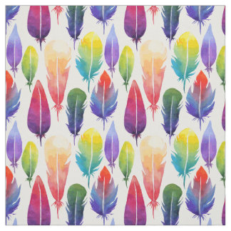 Watercolor feather pattern fabric
