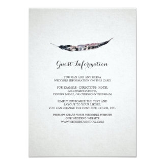 Watercolor Feather Wedding Insert Card 11 Cm X 16 Cm Invitation Card
