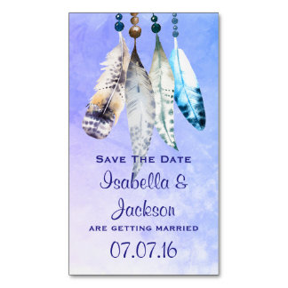 Watercolor Feathers and Beads Save The Date Magnetic Business Card