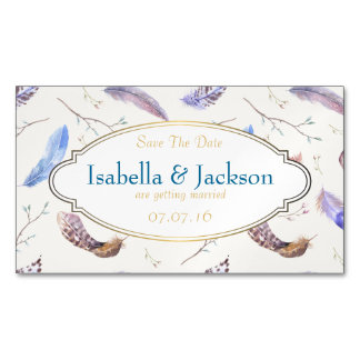 Watercolor Feathers and Fancy Frame Save The Date Magnetic Business Cards