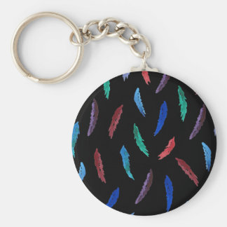 Watercolor Feathers Basic Button Keychain