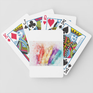 Watercolor Feathers Bicycle Playing Cards