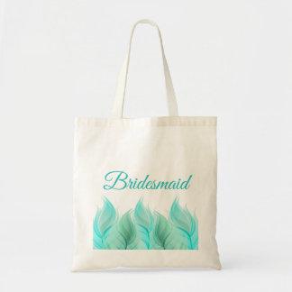 Watercolor Feathers Bridesmaid Budget Tote Bag