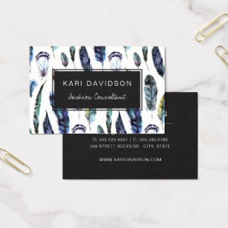 Watercolor Feathers Business Cards
