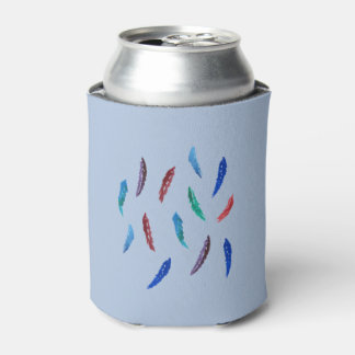 Watercolor Feathers Can Cooler