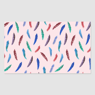 Watercolor Feathers Glossy Rectangle Sticker