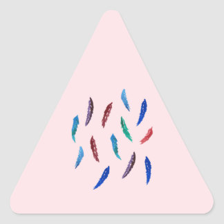 Watercolor Feathers Glossy Triangle Sticker