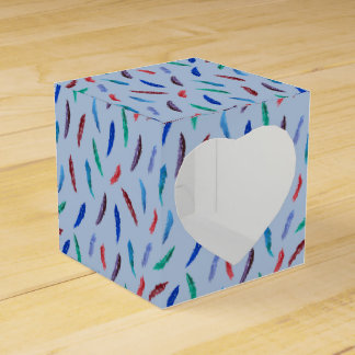 Watercolor Feathers Heart Favor Box