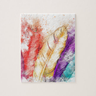 Watercolor Feathers Jigsaw Puzzle