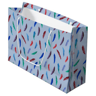Watercolor Feathers Large Glossy Gift Bag