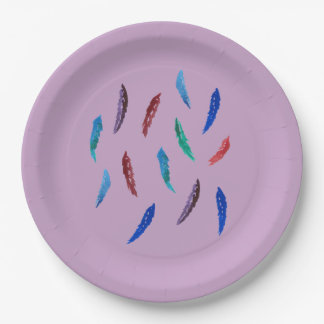 Watercolor Feathers Large Paper Plate