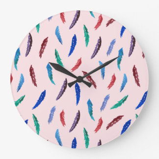 Watercolor Feathers Large Round Wall Clock