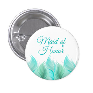 Watercolor Feathers Maid of Honor 3 Cm Round Badge