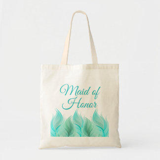 Watercolor Feathers Maid of Honor Budget Tote Bag