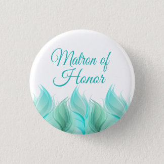 Watercolor Feathers Matron of Honor 3 Cm Round Badge