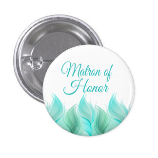 Watercolor Feathers Matron of Honour 3 Cm Round Badge