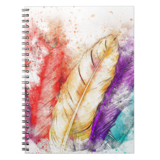 Watercolor Feathers Notebook