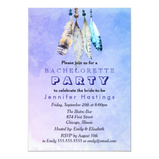 Watercolor Feathers on Bluish Purple Bachelorette Card