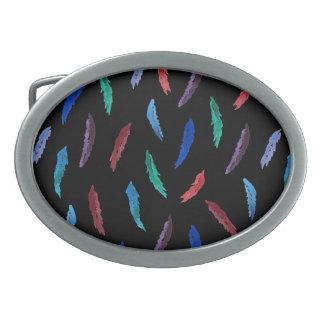 Watercolor Feathers Oval Belt Buckle