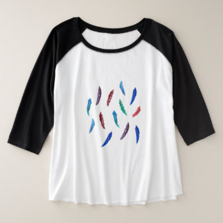Watercolor Feathers Plus Size Raglan T-Shirt