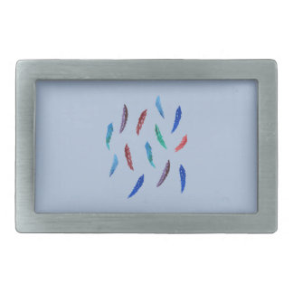 Watercolor Feathers Rectangle Belt Buckle