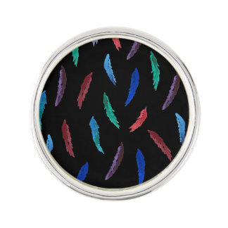 Watercolor Feathers Round Lapel Pin