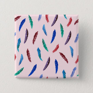 Watercolor Feathers Square Button