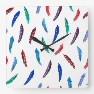 Watercolor Feathers Square Wall Clock