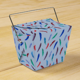 Watercolor Feathers Take Out Favor Box