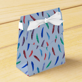 Watercolor Feathers Tent Favor Box