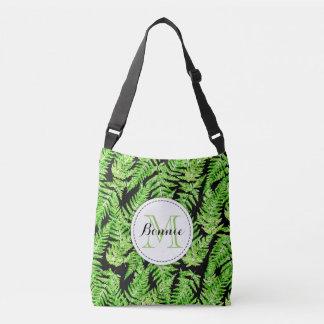 Watercolor fern leaf print pattern tote bag